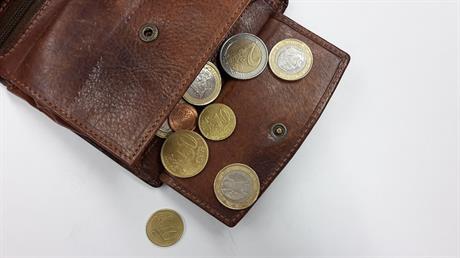 Portemonnee met euro's