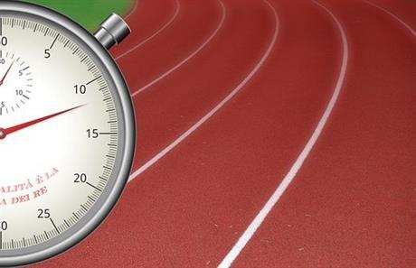 Atletiekbaan met stopwatch