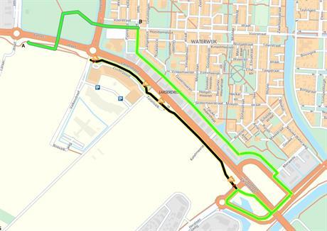 Plattegrond met locatie werkzaamheden fietspad Larserdreef ter hoogte Palazzo tot Benzinestation (Shell) Larserpad