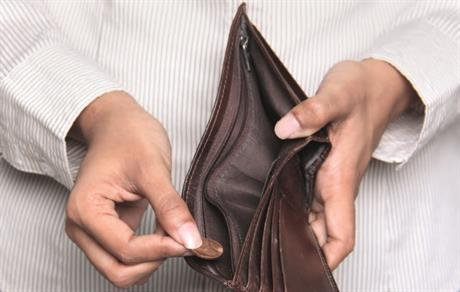 Munt in verder lege portemonnee