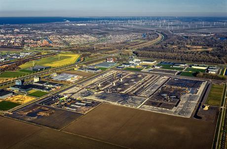 Luchtfoto van locatie distributiecentrum Inditex in Lelystad