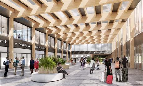 Impressie van centrale hal in de passagiersterminal van Lelystad Airport
