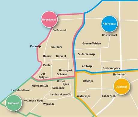 Kaart van Lelystad