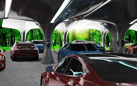 Impressie van elektrische auto's aan de lader in een PowerParking
