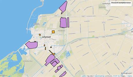 Overzicht industrieterreinen in Lelystad