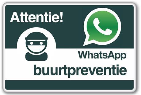 Bord WhatsApp buurtpreventie
